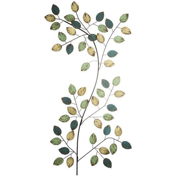 Blue, White & Green Leaf Metal Wall Decor   Metal Tree Wall Art ...