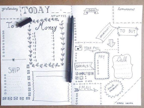 online etsy seller journal printable planner sheet agenda online