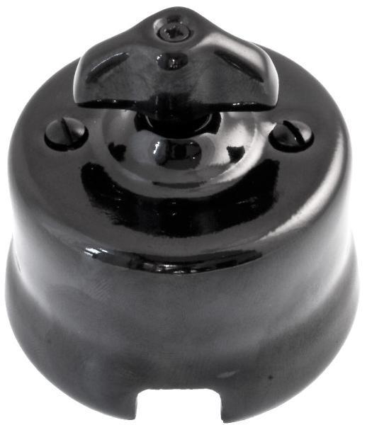 Porcelain light switch in black / Posliininen vaihtokytkin valokytkin pinta-asennettava - Domus Classica verkkokaupasta http://www.domusclassica.com/tuote/vaihtokytkin-pinta-asennettava/516-003-2/