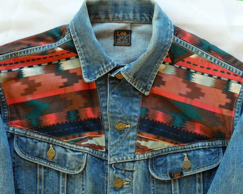 Sale Vintage 60s Lee 101 J Southwestern Print Denim Jacket Printed Denim Jacket Denim Jacket Printed Denim [ 1198 x 1500 Pixel ]