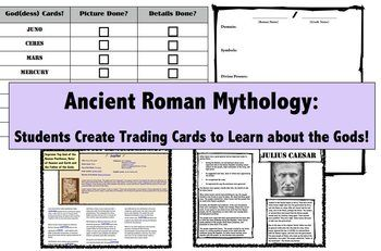 The Mythology Of Ancient Rome Students Create God Goddess Trading Cards Great End Of Year Pro Student Created Ancient Rome Lessons Ancient World History