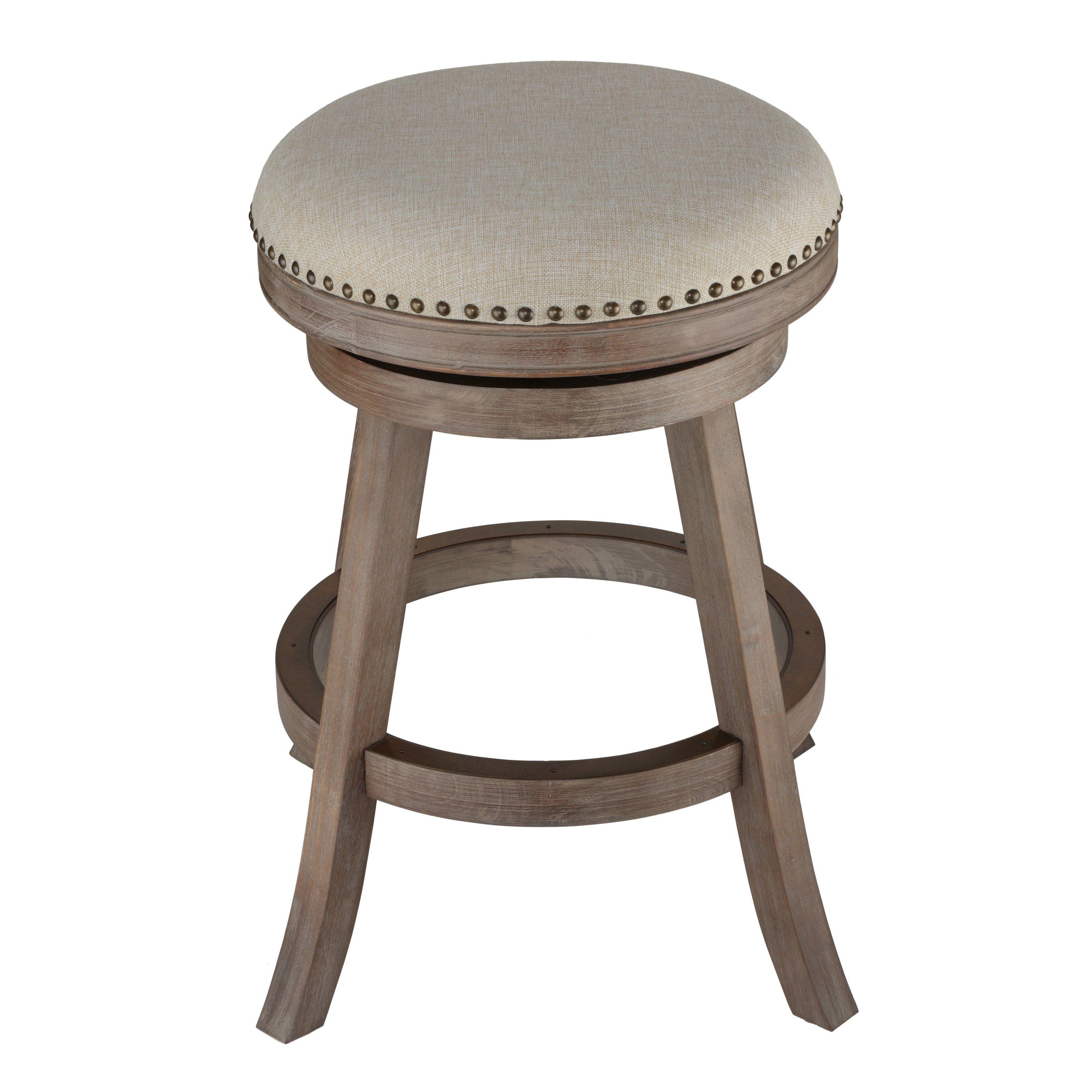 backless swivel bar stools. Cortesi Home Sadie Fabric And Driftwood Backless Swivel Counter Stool Bar Stools C