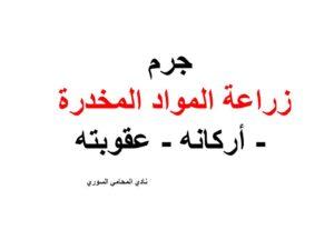 جرم زراعة المواد المخدرة نادي المحامي السوري Arabic Calligraphy Calligraphy