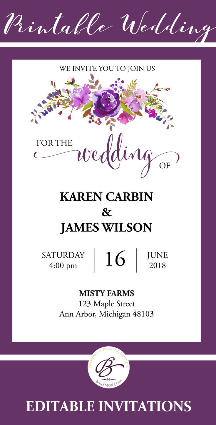 Purple Wedding Invitation Template Printable Wedding Etsy Wedding Invitation Templates Purple Wedding Invitations Printable Wedding Invitations