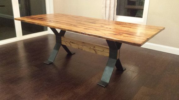 Trestle Style Steel Dining Table Legs By Timberforgewoodworks