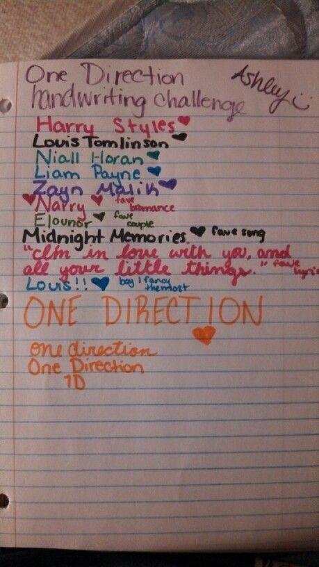 One Direction handwriting challenge <3