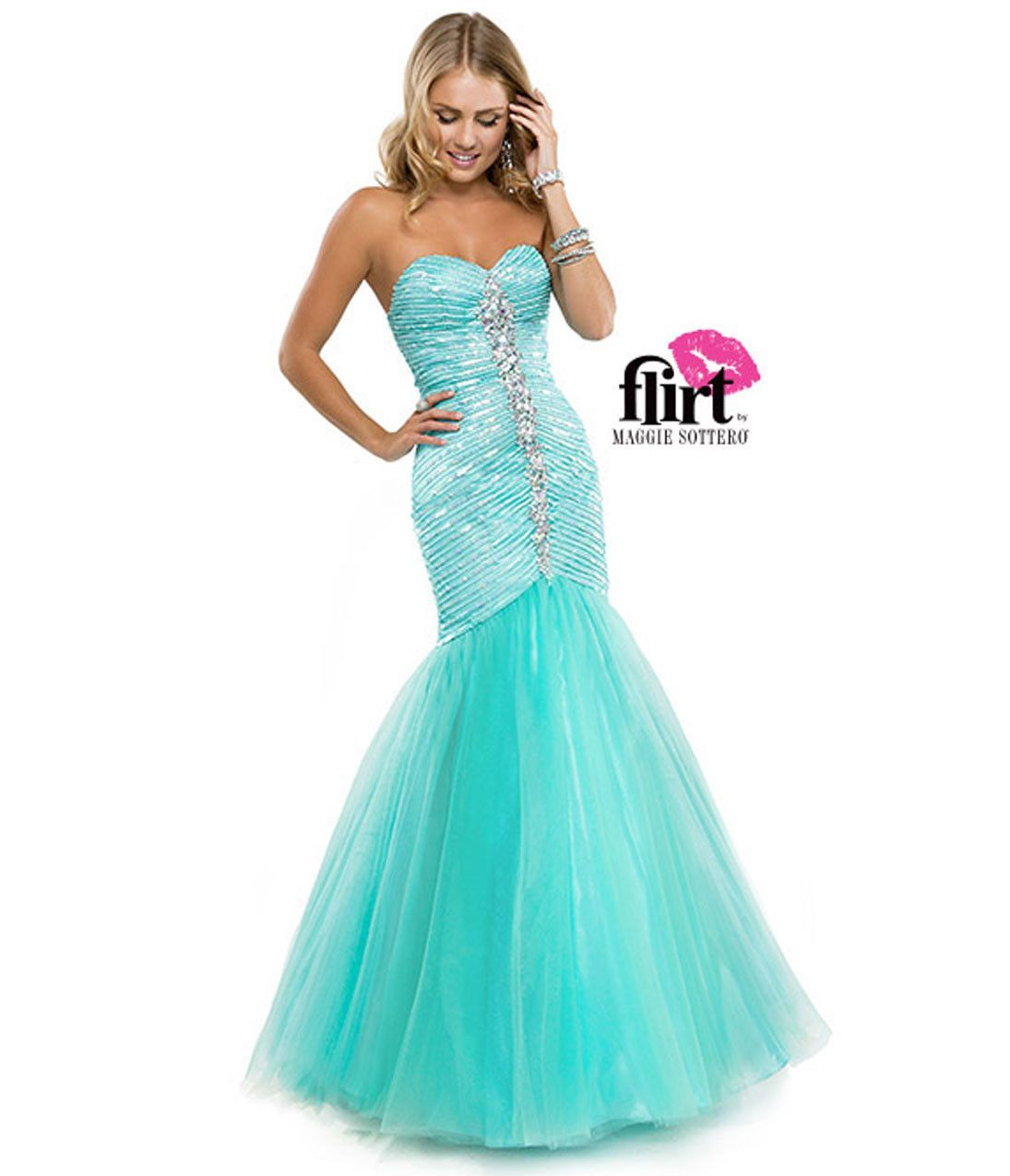 Flirt by Maggie Sottero P5808 Aqua Size 2 mermaid strapless prom ...