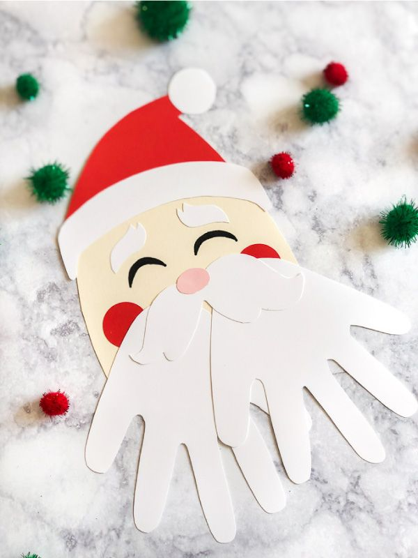 A Simple Santa Handprint Craft For Kids #christmascraftsforkidstomake