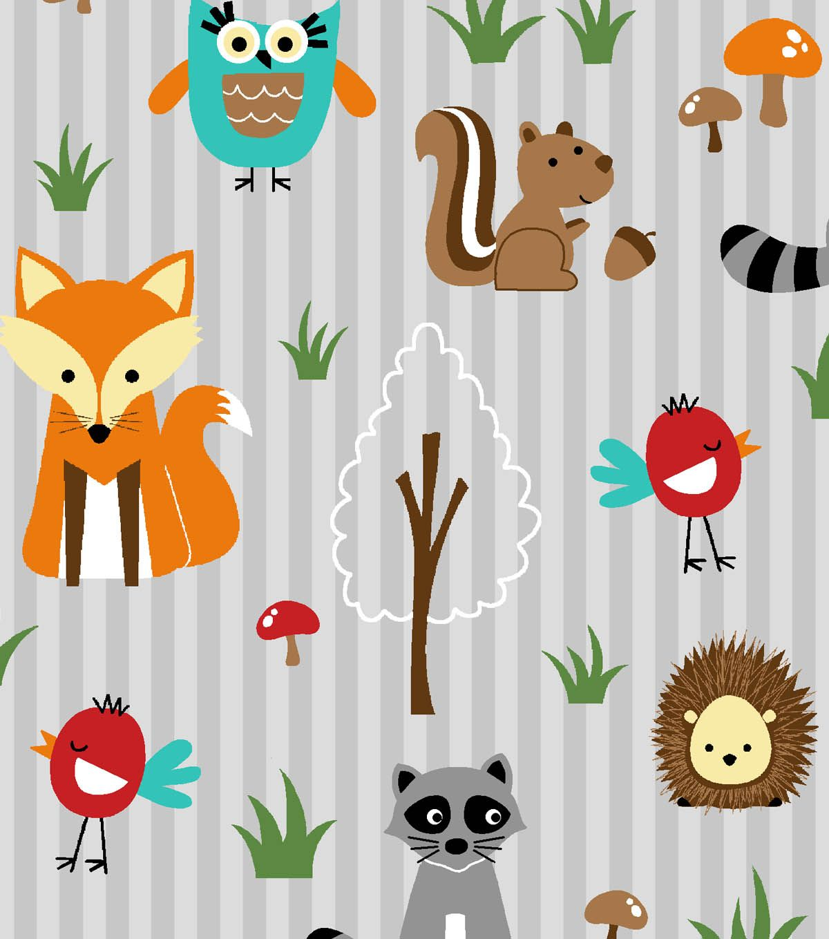 Novelty cotton fabric woodland friends orange gray for Grey nursery fabric