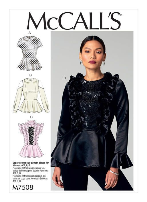 McCall\'s top sewing pattern with ruffles and peplum. M7508 Misses ...
