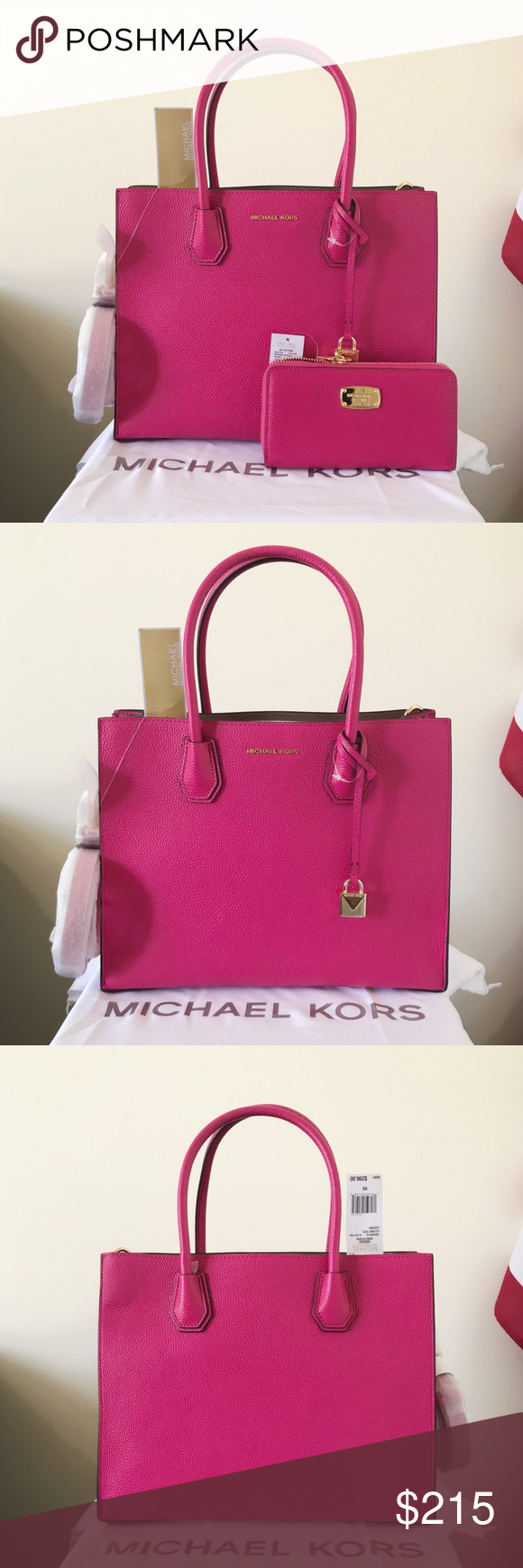 1fbdc95087 NWT Michael Kors Mercer Large Tote Set Gorgeous color! Ultra pink with gold  detailing.
