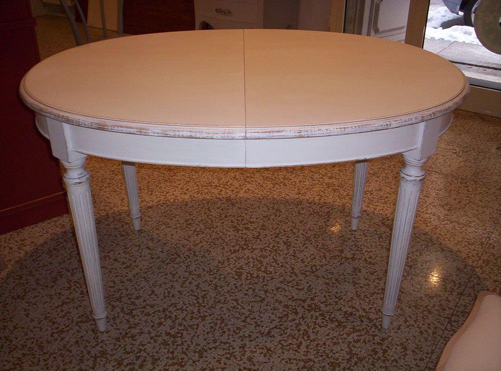 TAVOLO OVALE PROVENZALE: tavolo ovale allungabile provenzale bianco su noce