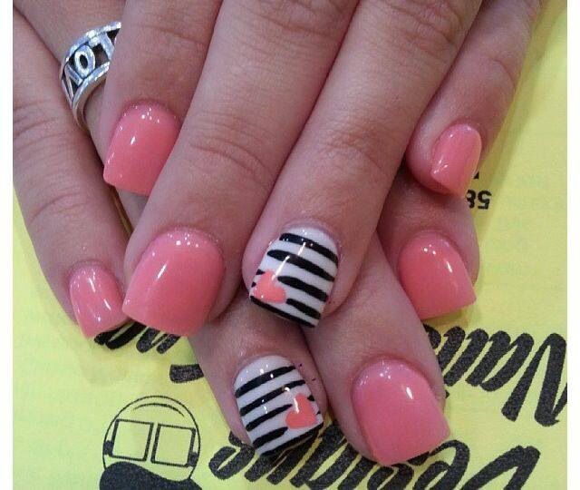 Pink and black & white striped nails