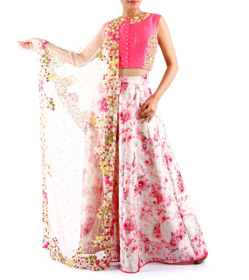 Pink Embroidered Raw Silk Crop Top & Printed Skirt Set With Dupatta ...