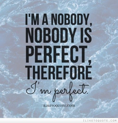 Who Is Perfekt i m a nobody nobody is therefore i m
