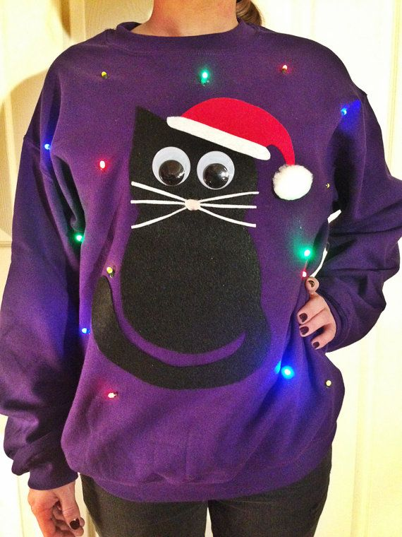 Lightup ugly Christmas sweater Christmas Kitty by TipitDesigns, $55.00 - Light Up UGLY CHRISTMAS SWEATER - Christmas Cat!!! (Also Available