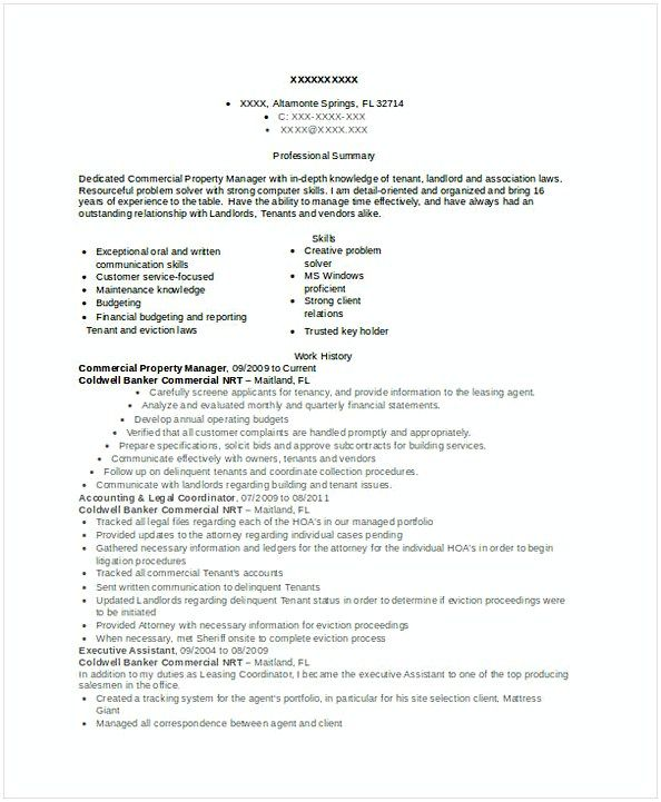 Commercial Property Manager Resume , Assistant Property Manager ...