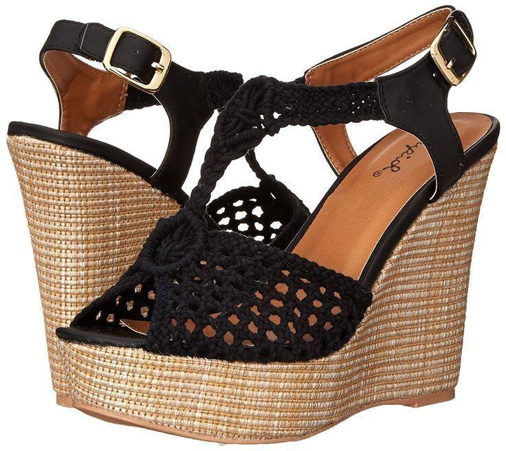 bed0ad1aefb Qupid Women s Clemence-93 Black Open Toe Crochet Wedge Sandal Medium ...