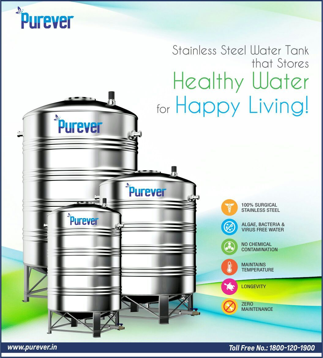 Stainless Steel Water Tank Stores Healthy Water And Healthy Living Switch To Purever Stainless Steel Water Tank Steel Water Tanks Healthy Water Water Tank