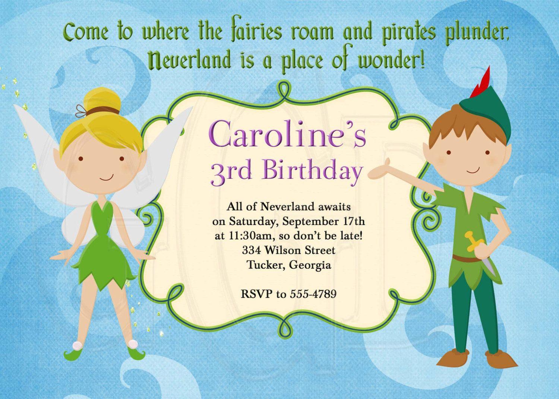 Peter Pan And Tinkerbell Inspired Birthday Invitation Digital File 12 00 Via Etsy