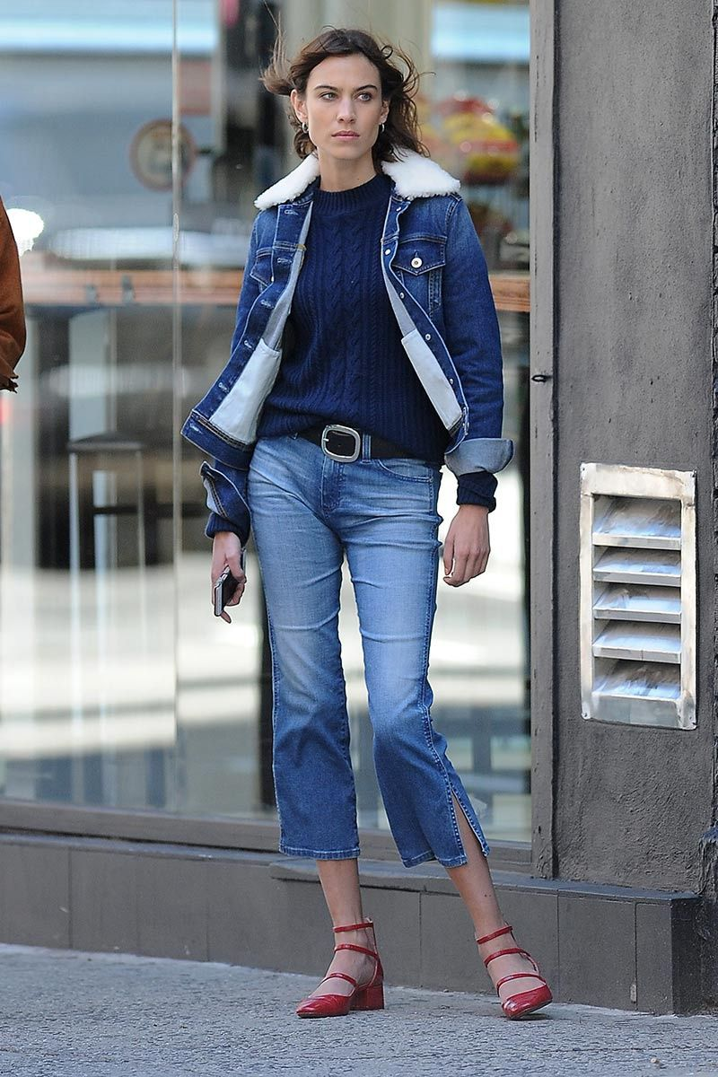 Alexa Chung blue sweater  jenas jacket with shearling collar jeans ...