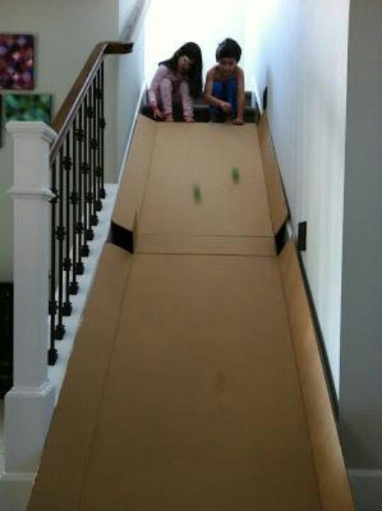 Turn Your Staircase Into A Slide! Put Pillows At The Bottom, Cover Stairs In