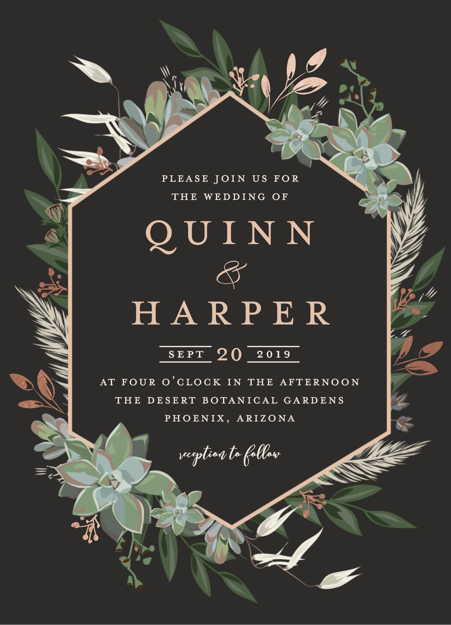 wedding invitation design featuring a succulent geometric