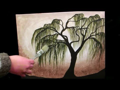 How To Paint A Weeping Willow Tree   STEP By STEP   YouTube