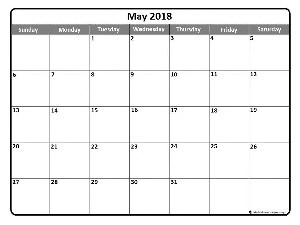 May 2018 printable calendar template Printable calendars Monthly