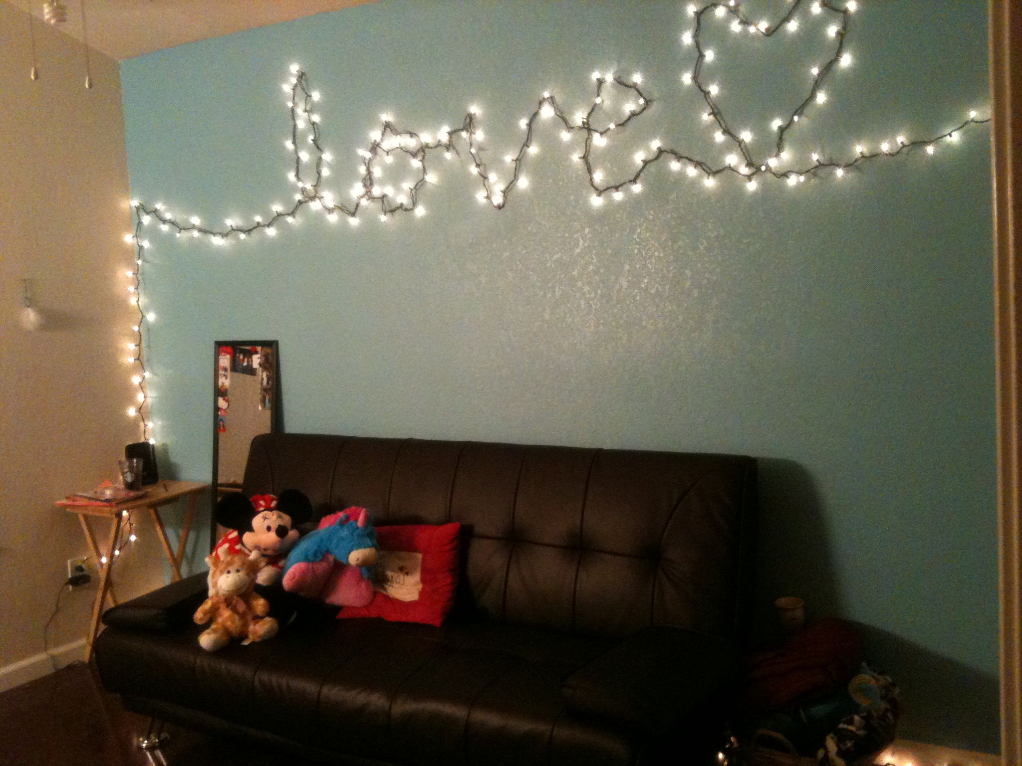 With Blanket Super Cute College Apartment D Pinterest Cork - Cute christmas lights for bedroom