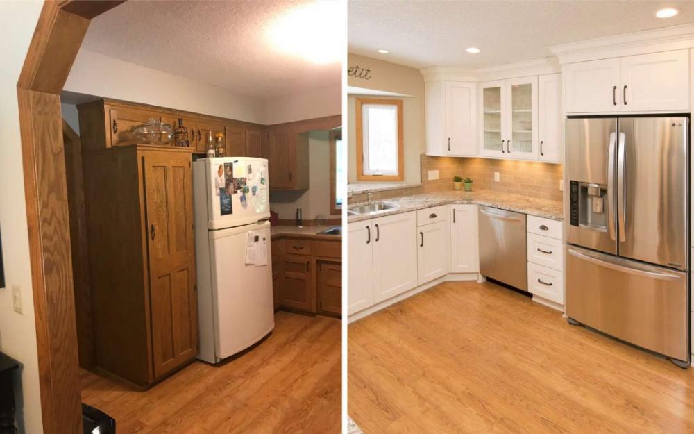 updating oak cabinets doors floors  trim  living with