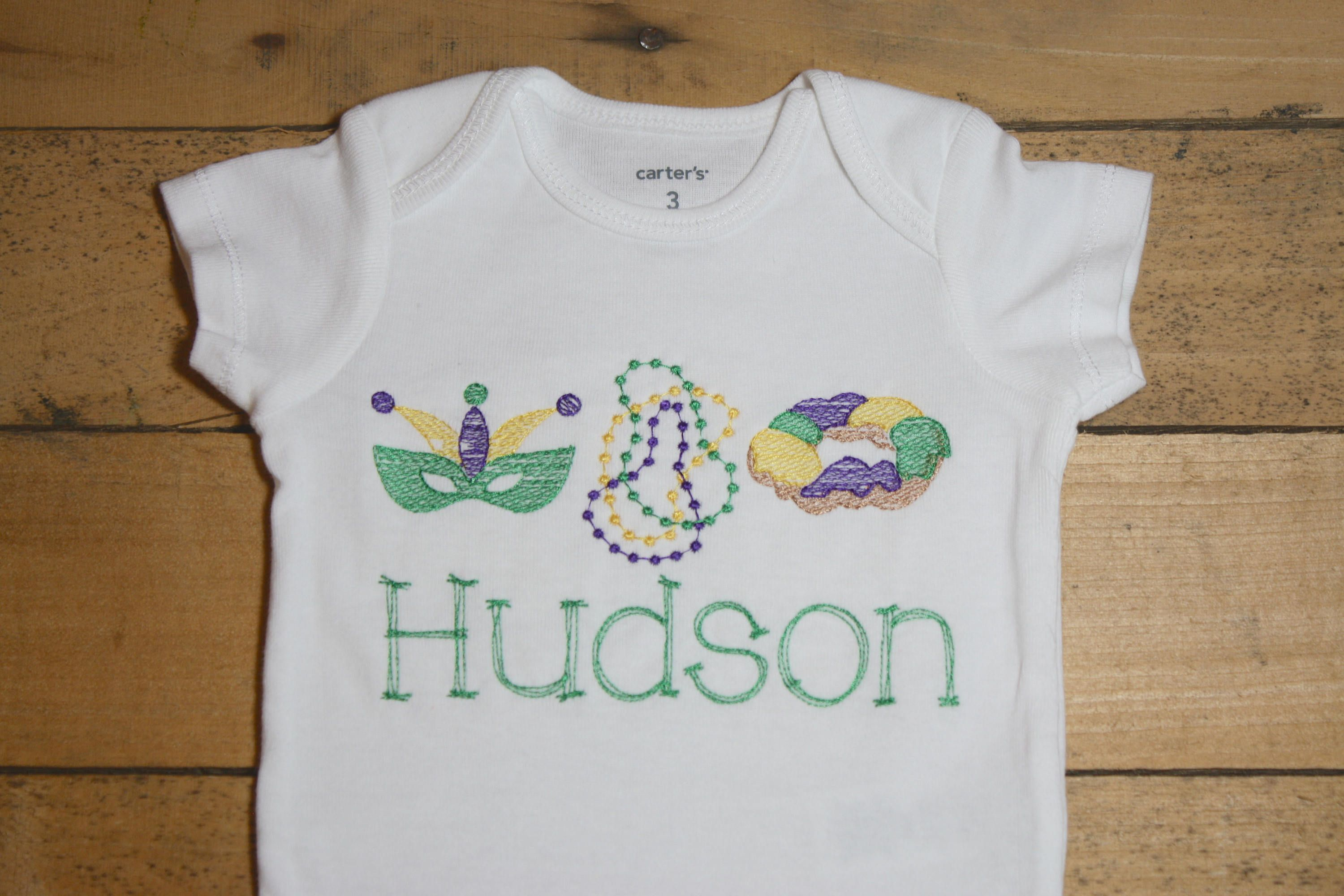 Embroidered Mardi Gras Baby Outfit Personalized Customized Bodysuit ...
