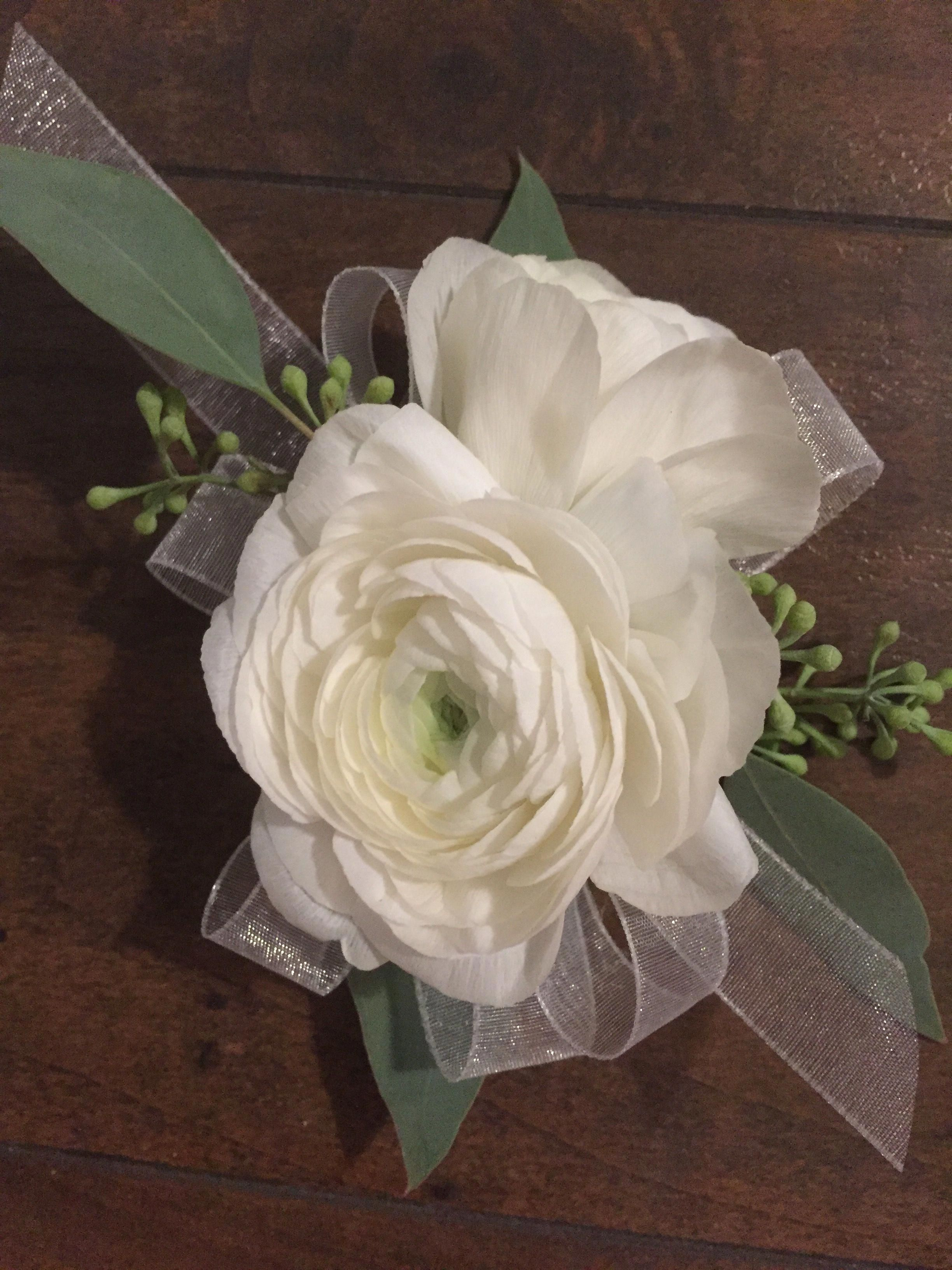 White Ranunculus And Seeded Eucalyptus Wrist Corsage Ranunculus White Ranunculus White Flower Boutonniere Wrist Corsage