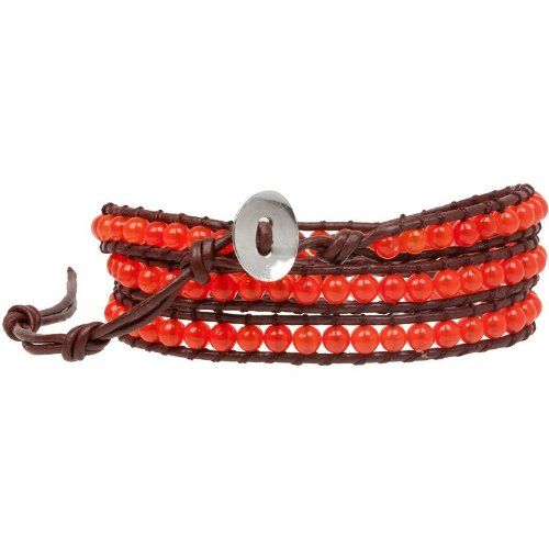 Heirloom Finds Carnelian Beads on Triple Wrap Leather Bracelet - Fashion Jewelry