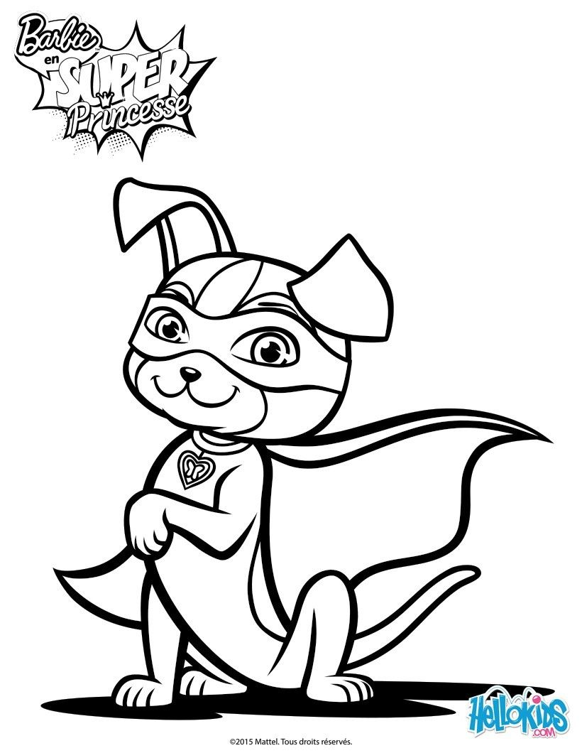 Barbie Super Power Magical Dog coloring sheet More Barbie content on hellokids