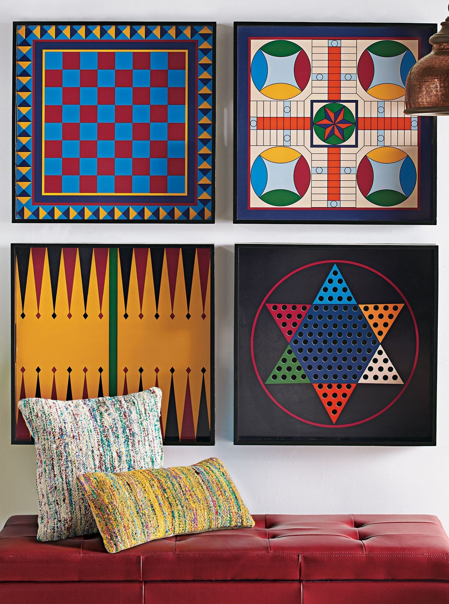 Hang them as graphic art on the wall. Use them as colorful