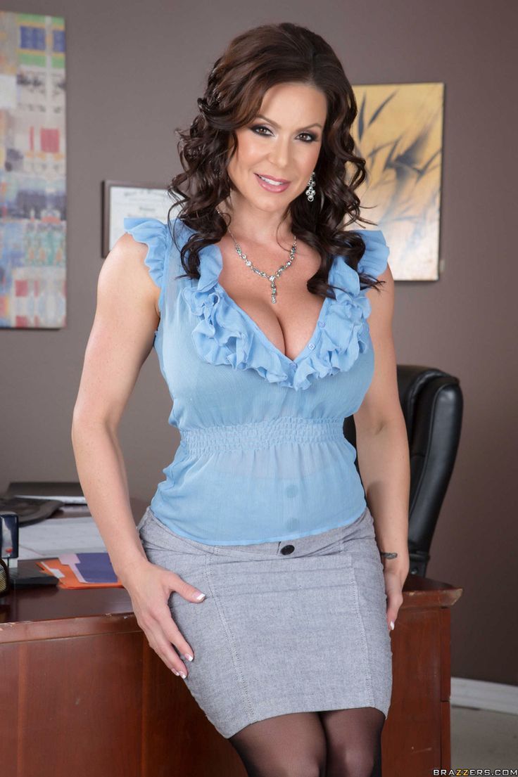 Blue Blouse, Grey Skirt, Deep Cleavage Dark haired MILF | Office ...