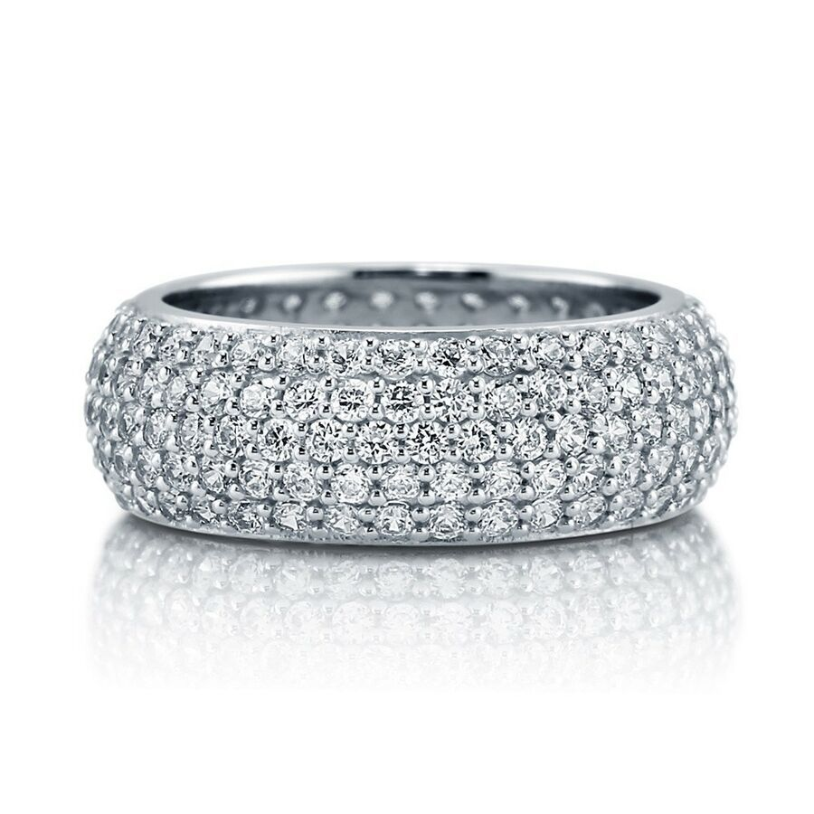 Sterling Silver Eternity Pave CZ Band 925 Womens Ring