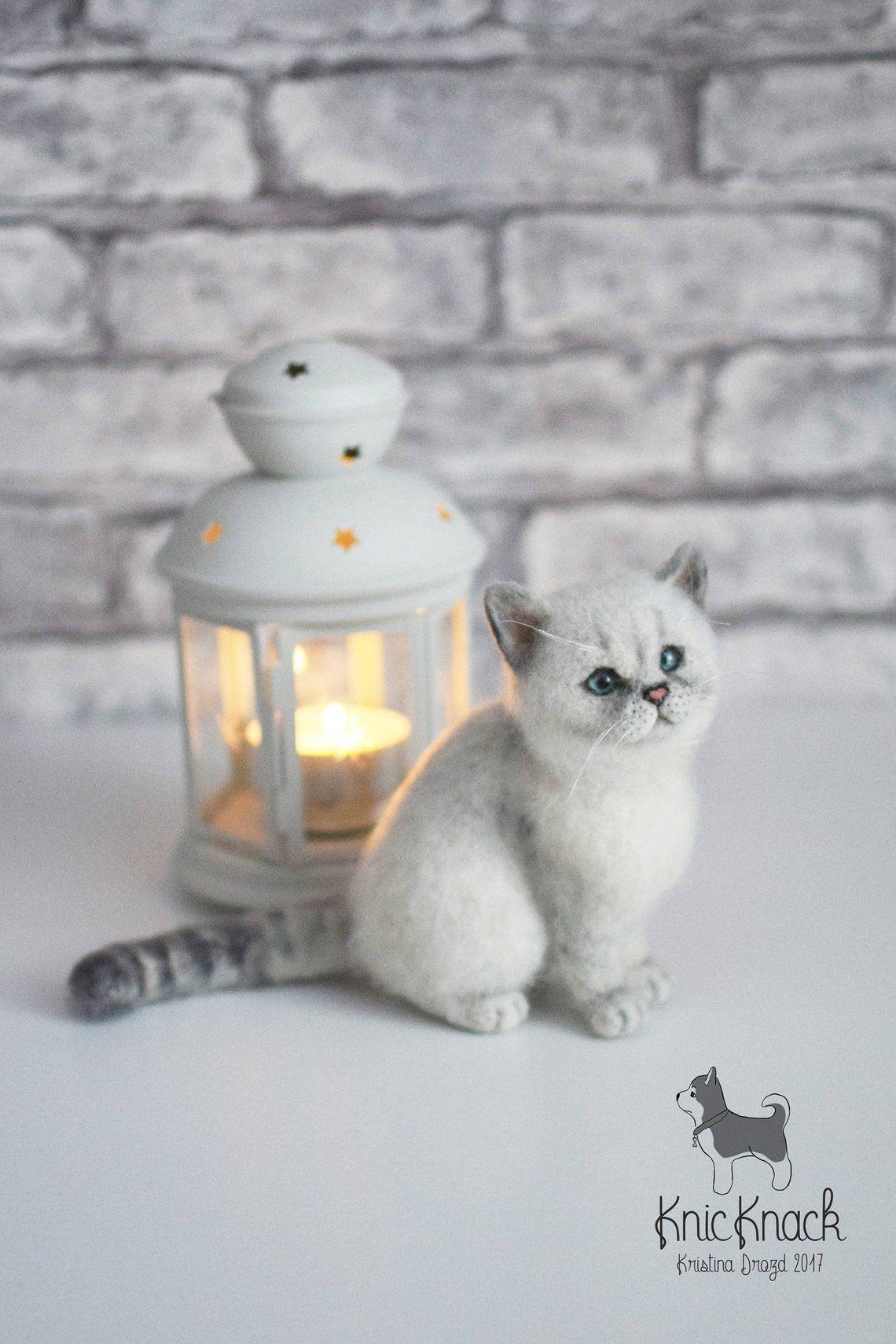 Needle Felted British Silver Shorthair Cat Toy Sold Custom To Etsy Felt Cat Felt Animals Needle Felting