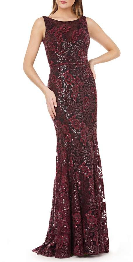 518a24694b86a Carmen Marc Valvo Sequin Floral Gown   Products   Floral gown ...