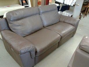 Natuzzi Julius Taupe Italian Leather Power Reclining Sofa Home