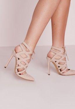 059c8ab05dc22 Geometric Lace Up Court Shoes Nude