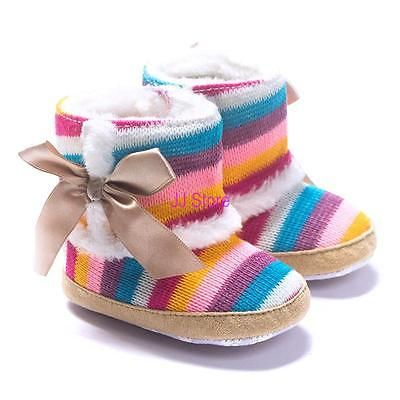 401770884ca8 Newborn Baby Girl Shoes Toddler Soft Sole Rainbow Winter Boots ...