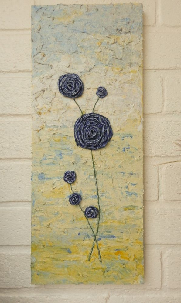 Contemporary Canvas Wall Hanging Blue Poppies, Mixed Media Sculpture ...
