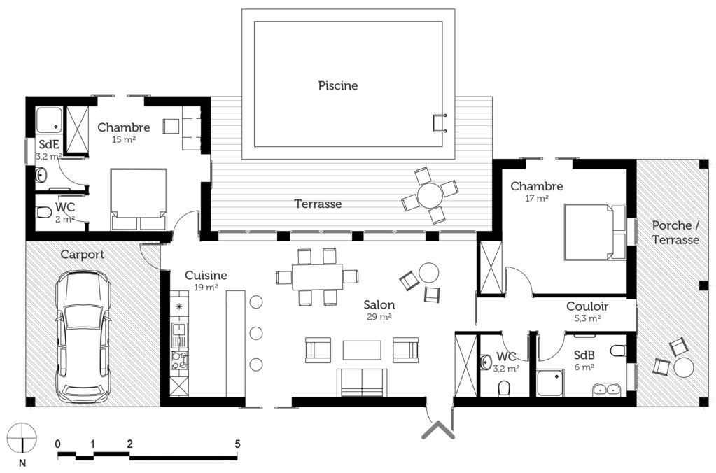 16 pratique plan maison en u de plain pied ooreka - Plans maisons plain pied 3 chambres ...
