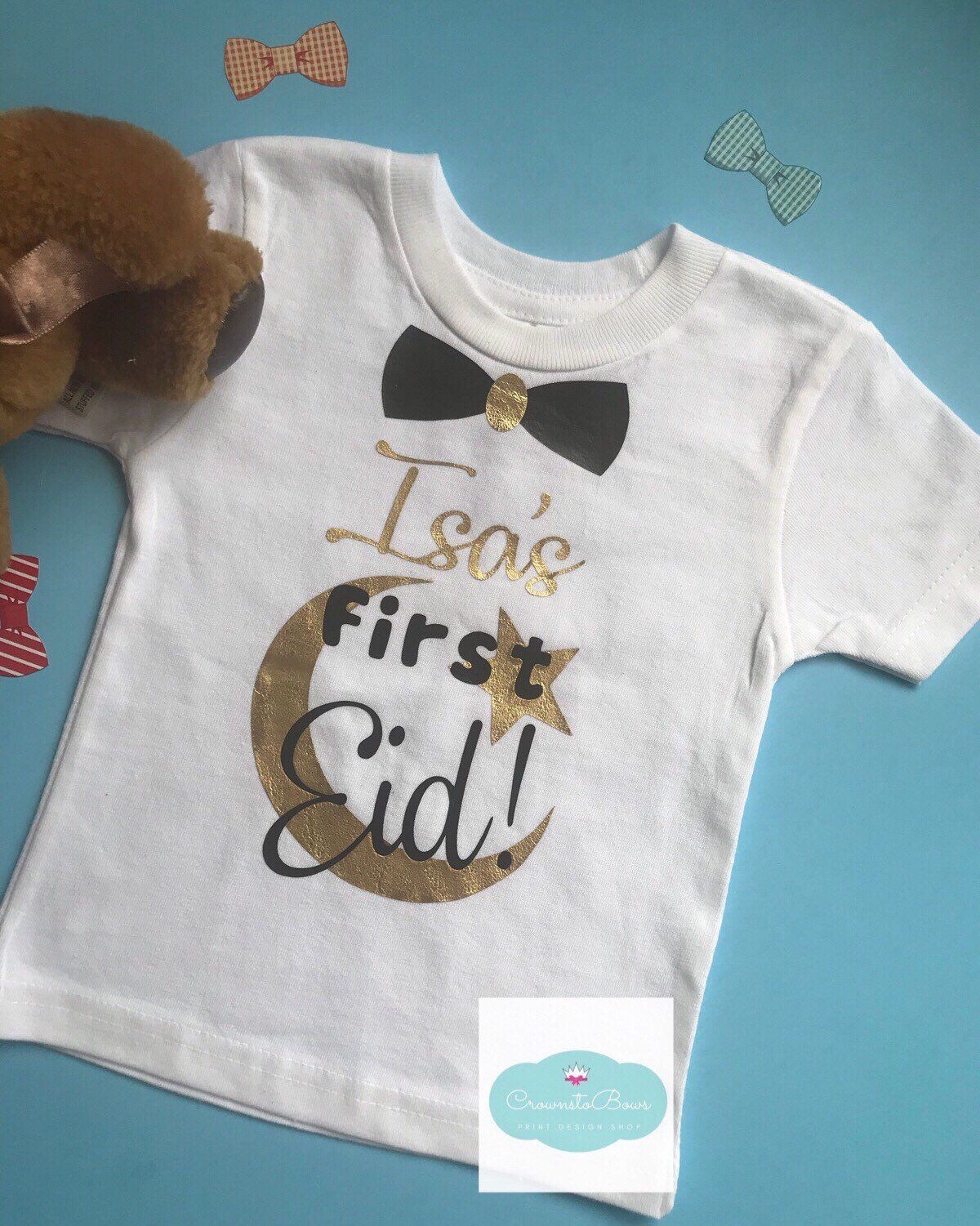 My First Eid Muslim Baby Vest Grow Clothes Bodysuit Top Size Boys Girls NEW Gift