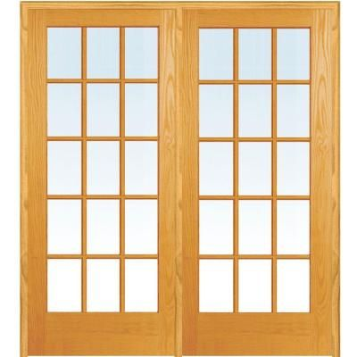Mmi Door 60 In X 80 In Right Hand Active Unfinished Pine Glass 15 Lite Clear True Divided Prehung Interior French Door Prehung Interior French Doors French Doors Glass French Doors