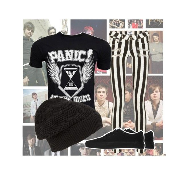 """""""P!ATD"""" by thenerdinblack ❤ liked on Polyvore featuring Paige Denim, Retrò, Phase 3 and Vans"""