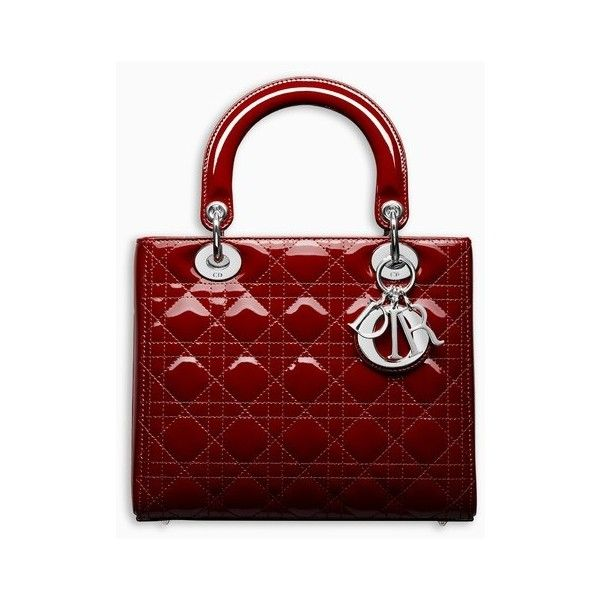 LADY DIOR BAG IN CHERRY RED PATENT CANNAGE CALFSKIN ❤ liked on Polyvore  featuring bags, 4370d73ecf