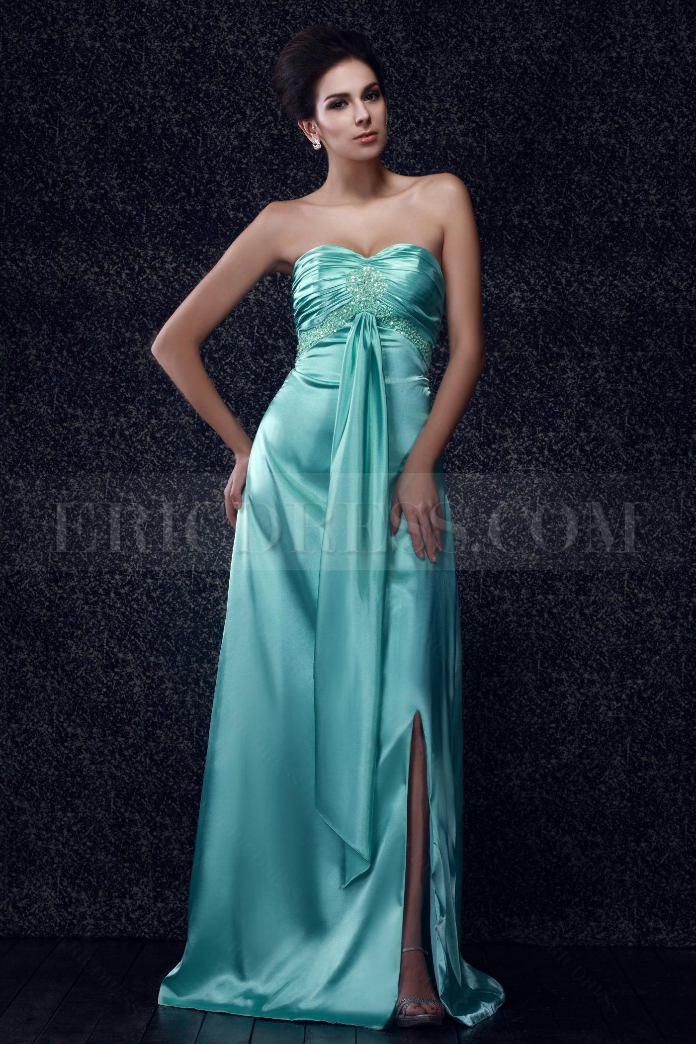 Sweetheart neckline with empire column shape and sexy slit skirt